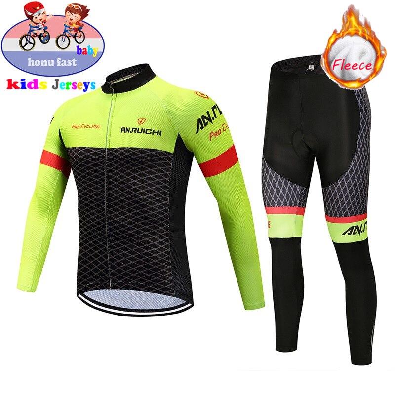 Children's Winter Thermal Fleece Cycling Jersey 2020 Long Sleeve Kids Bike Clothing Outdoor Mountain Bicycle Uniform Bike Wear